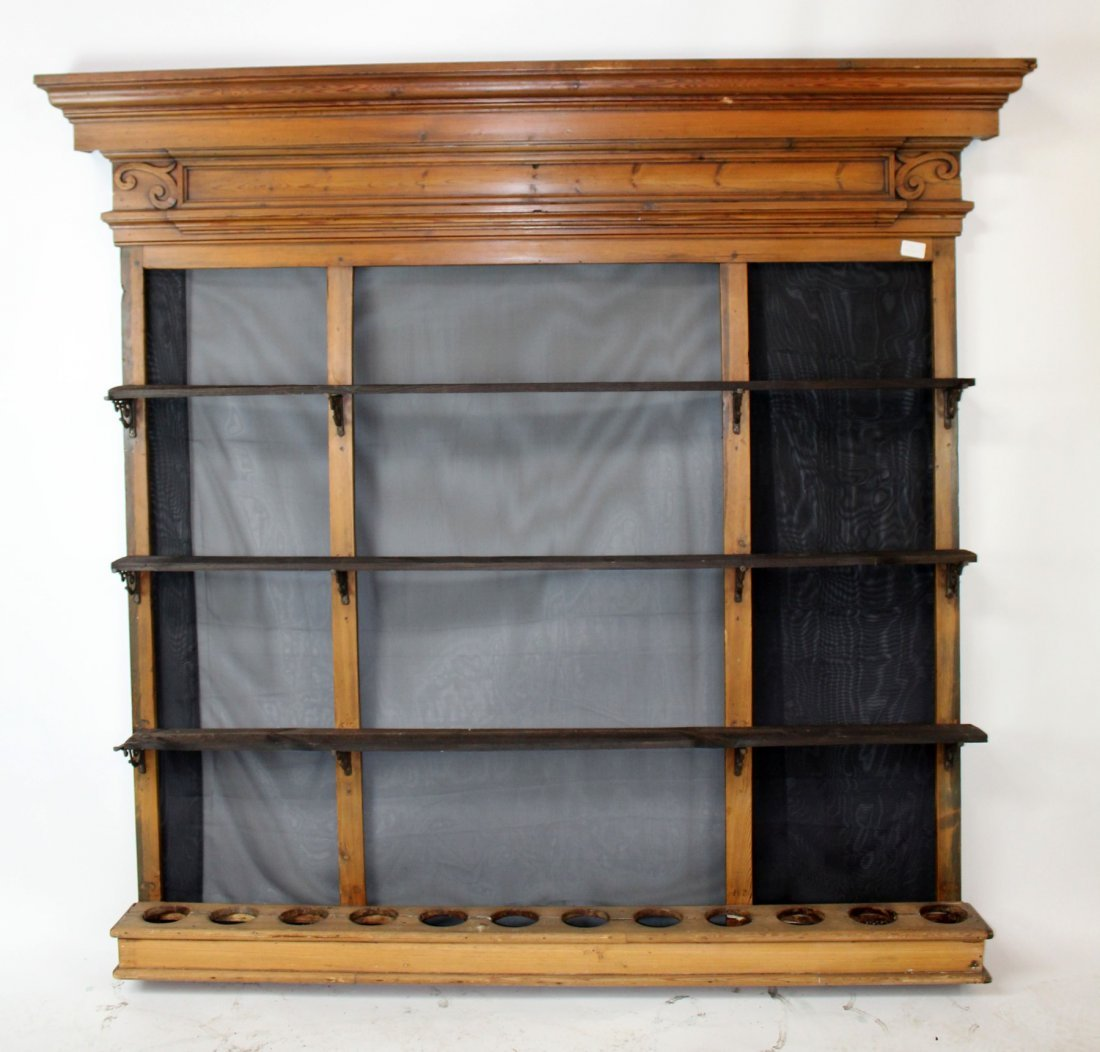 French pine wall mount back bar shelf