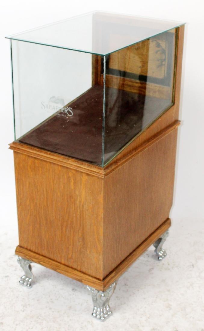 American Sheaffer's oak display cabinet
