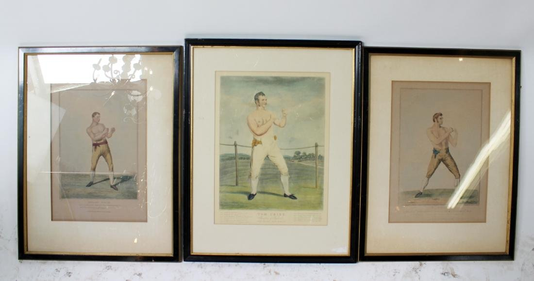3 Antique Hand colored etchings of boxers