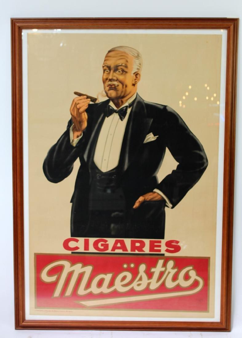 "1920's Belgian ""Maestro"" cigar advertising poster"