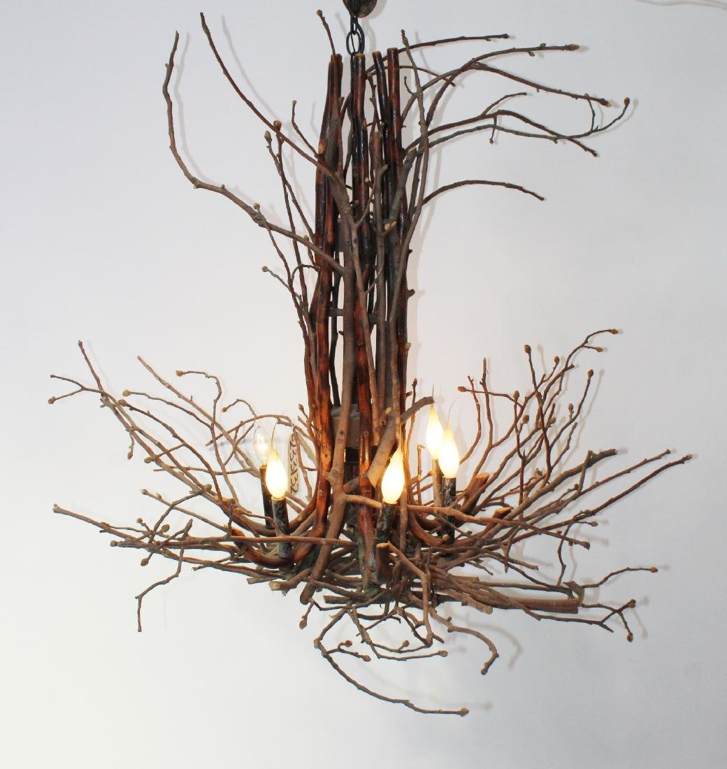 6 light Adirondack twig chandelier