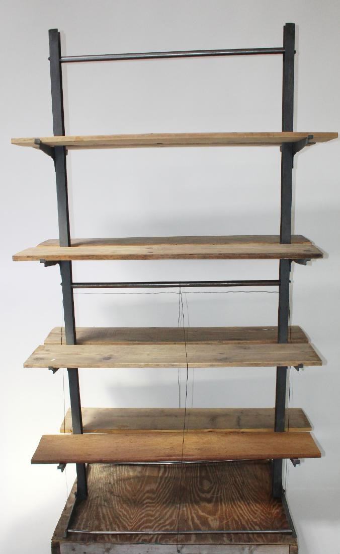 French Industrial metal and wood etagere
