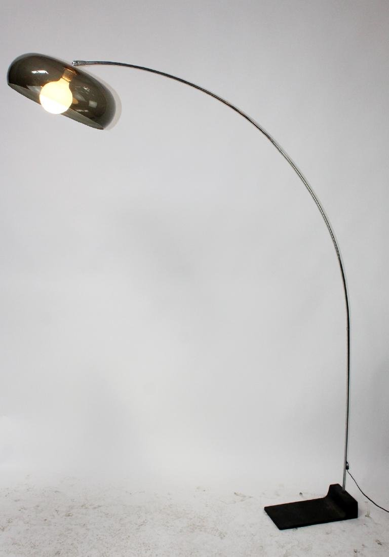 Polished chrome arc floor lamp