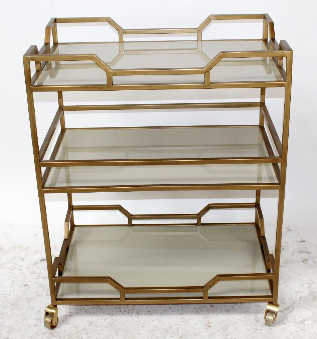 Modern gold painted bar cart