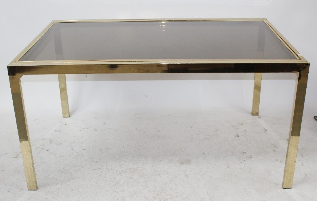 Mid century Brass & glass dining table