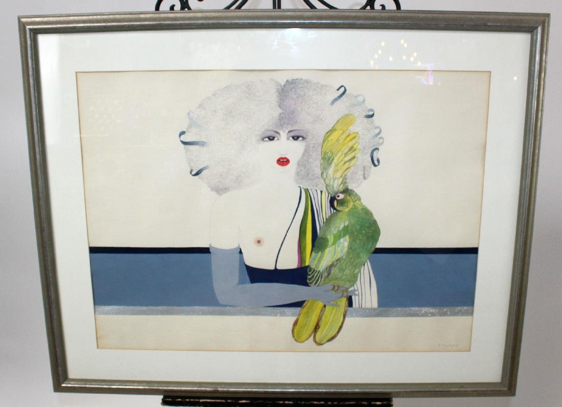 L.M Forman watercolor depicting woman with parrot