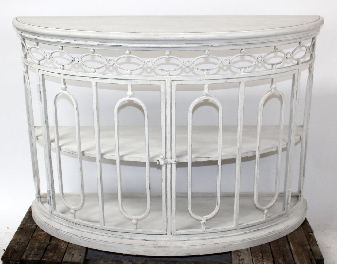 Painted iron demi lune console with wood top