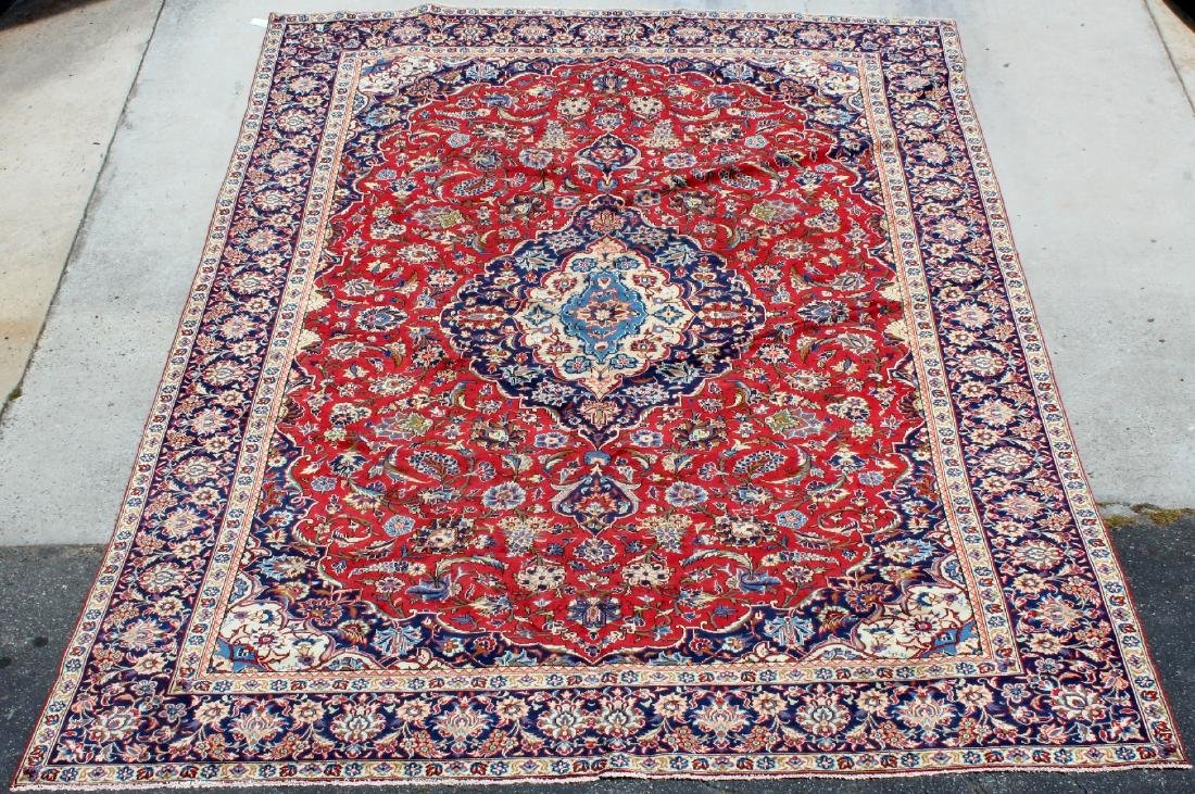 "9'6"" x 13'6"" Persian Kashan wool carpet"