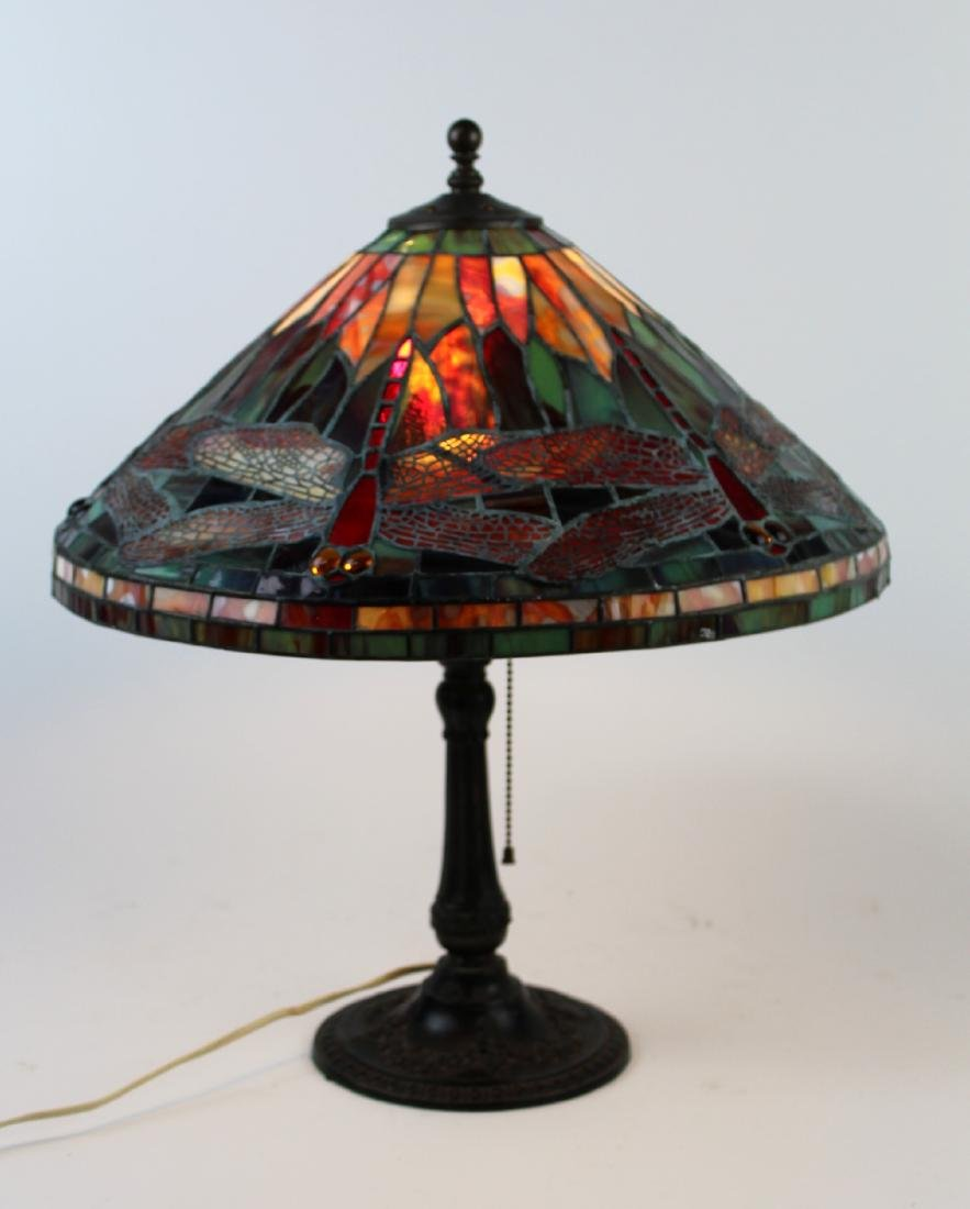 Dragonfly motif stained glass lamp with bronze base