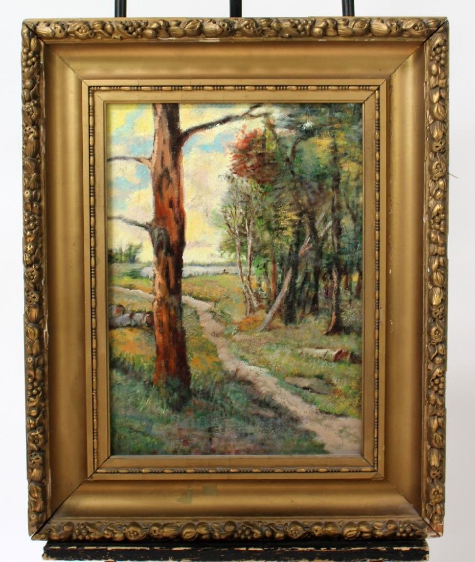 American oil on board depicting wooded path