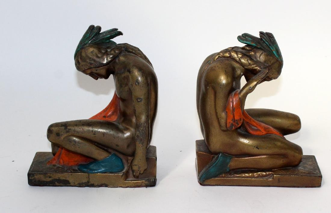 Pompeain bronze clad Indian bookends