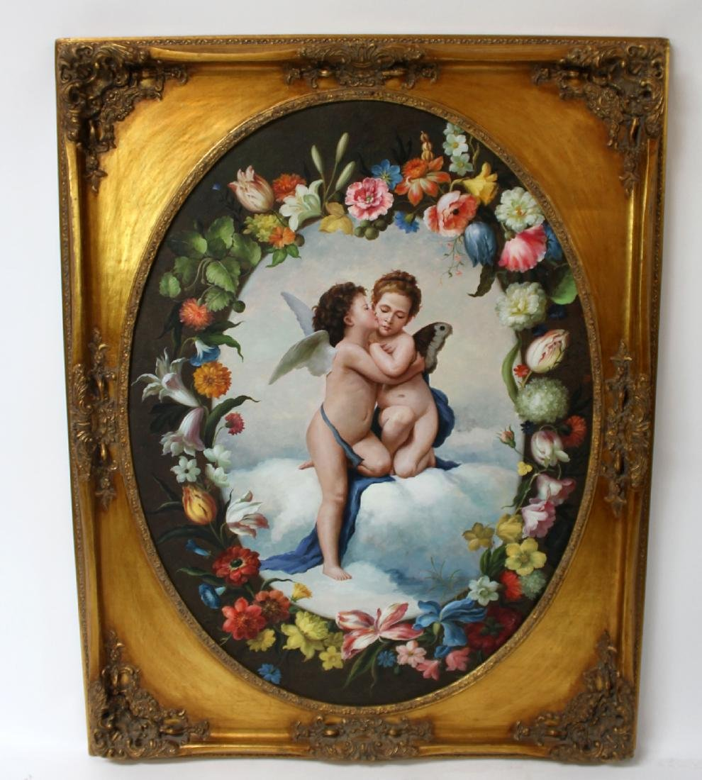 Oil on canvas depicting cherubs