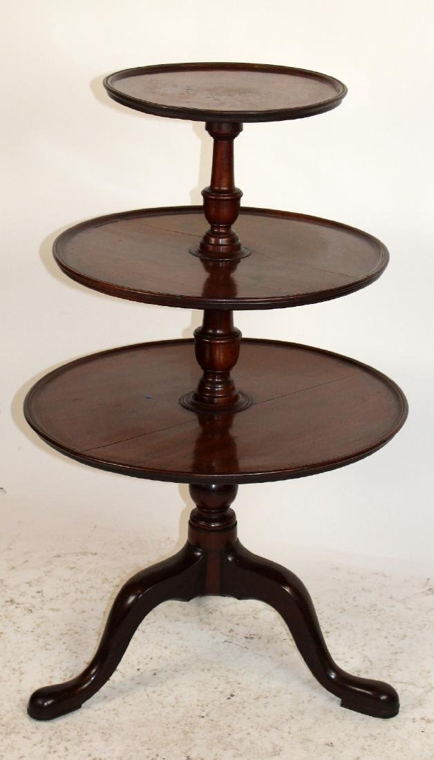 English Chippendale tiered mahogany butlers table