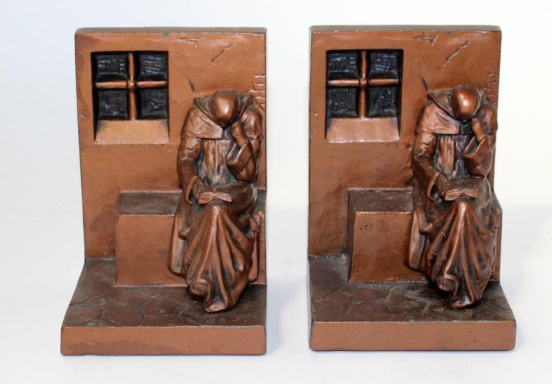 Vintage bronze bookends with monks