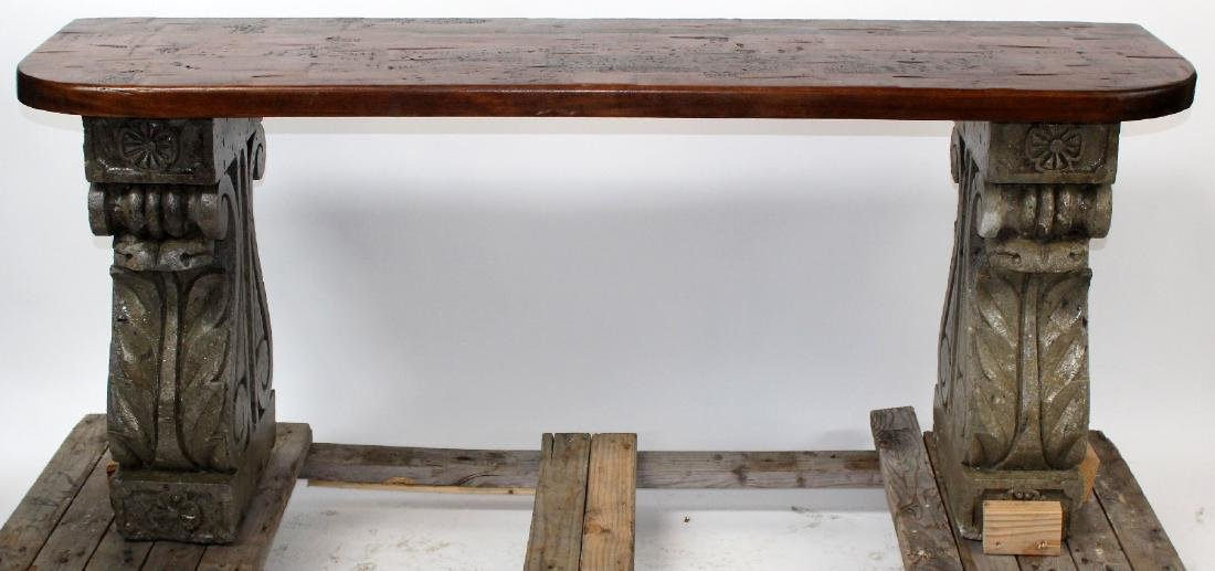 Double pedestal console with cast corbel bases