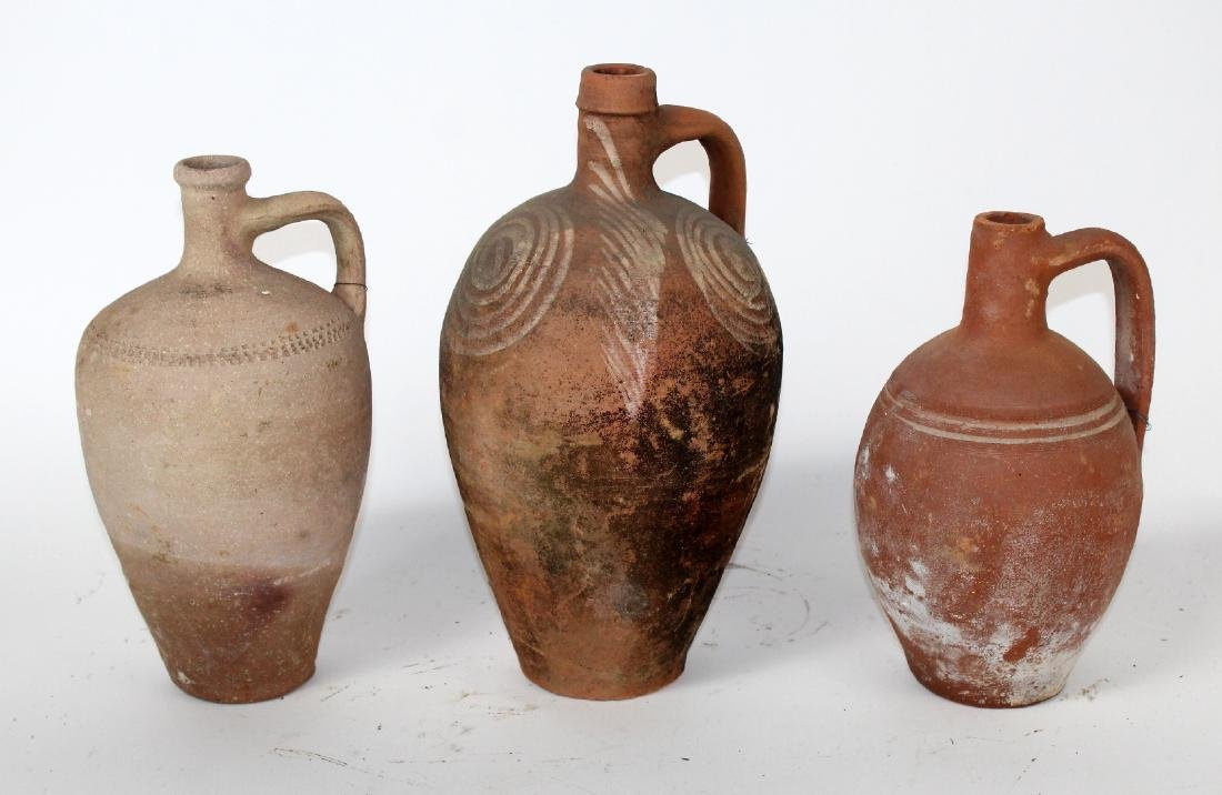 Lot of 3 terra cotta jugs
