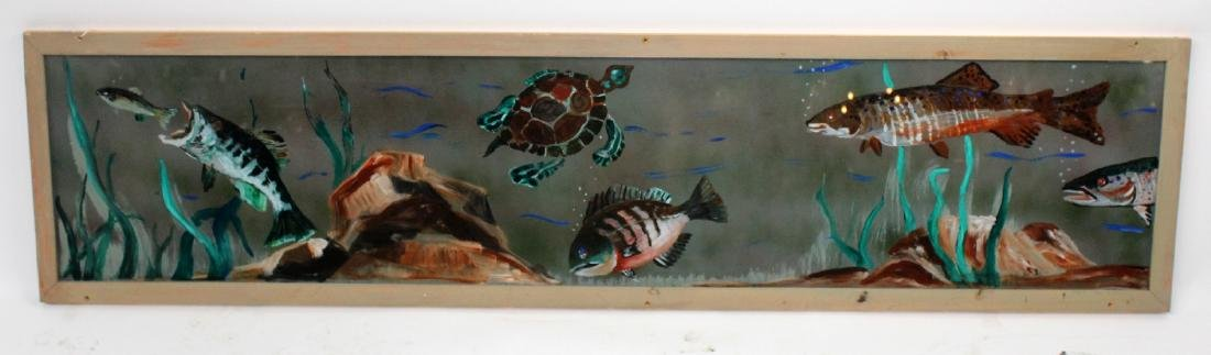 Hand painted fish themed glass panel  in pine frame