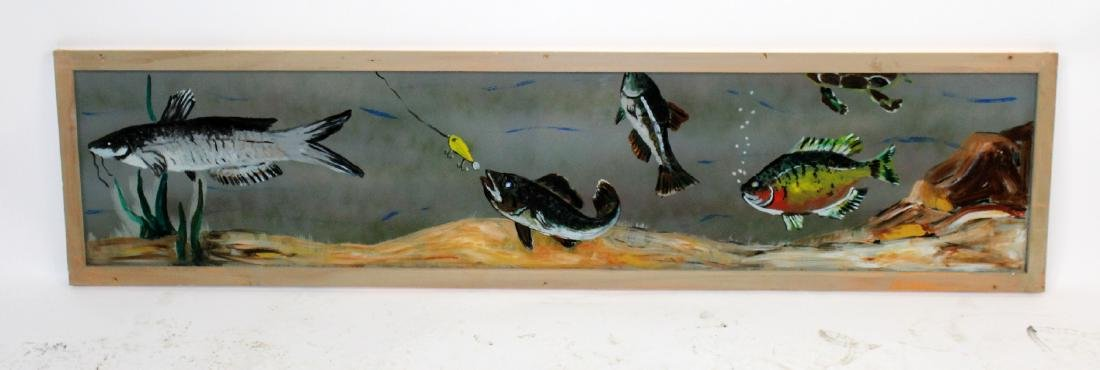 Hand painted fish themed glass panel