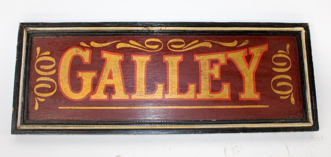 """Painted wooden """"Galley"""" sign"""