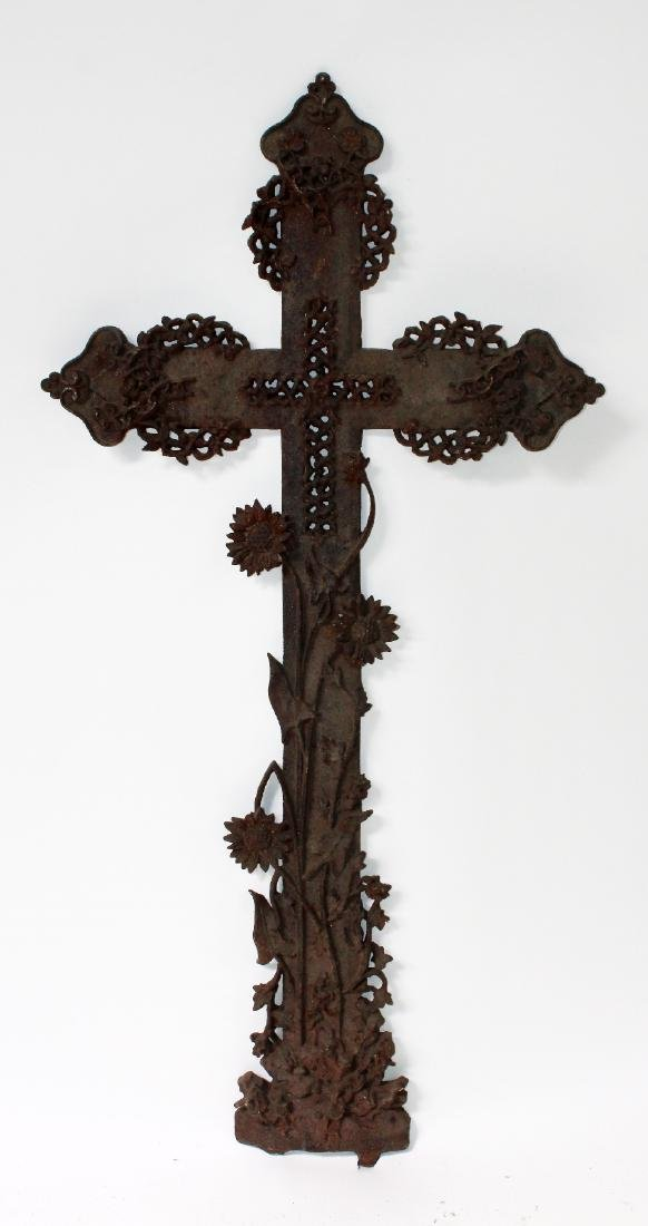 Antique iron cross with foliate decoration
