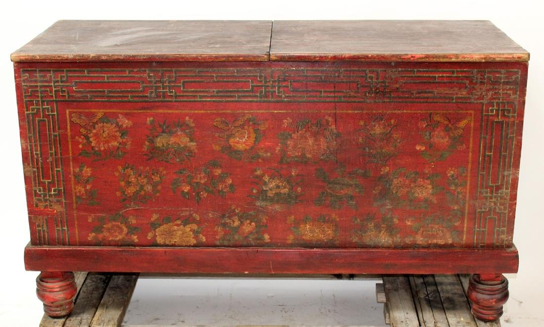 Chinese floral painted trunk