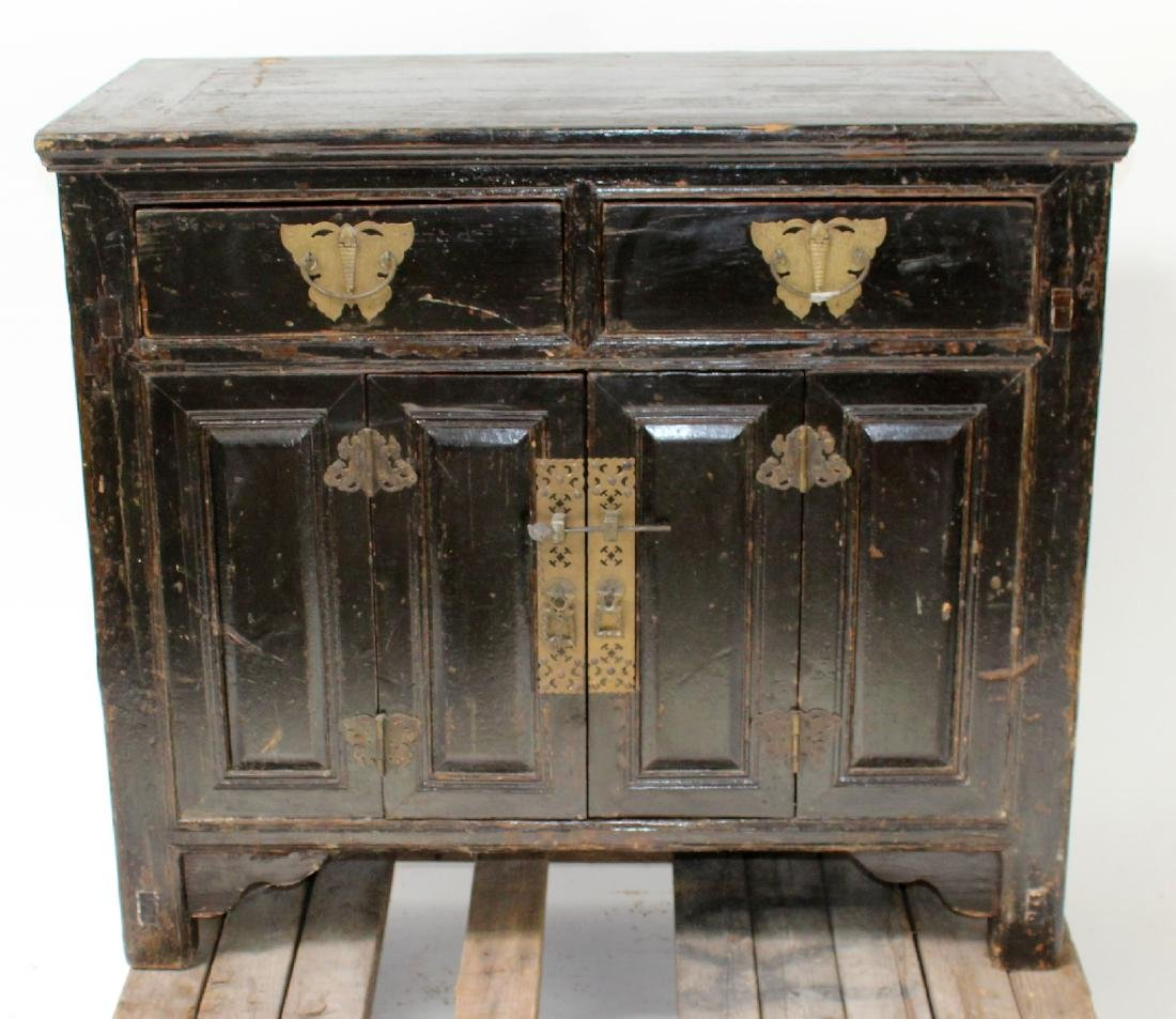 Chinese painted 2 door cabinet with butterfly hardware