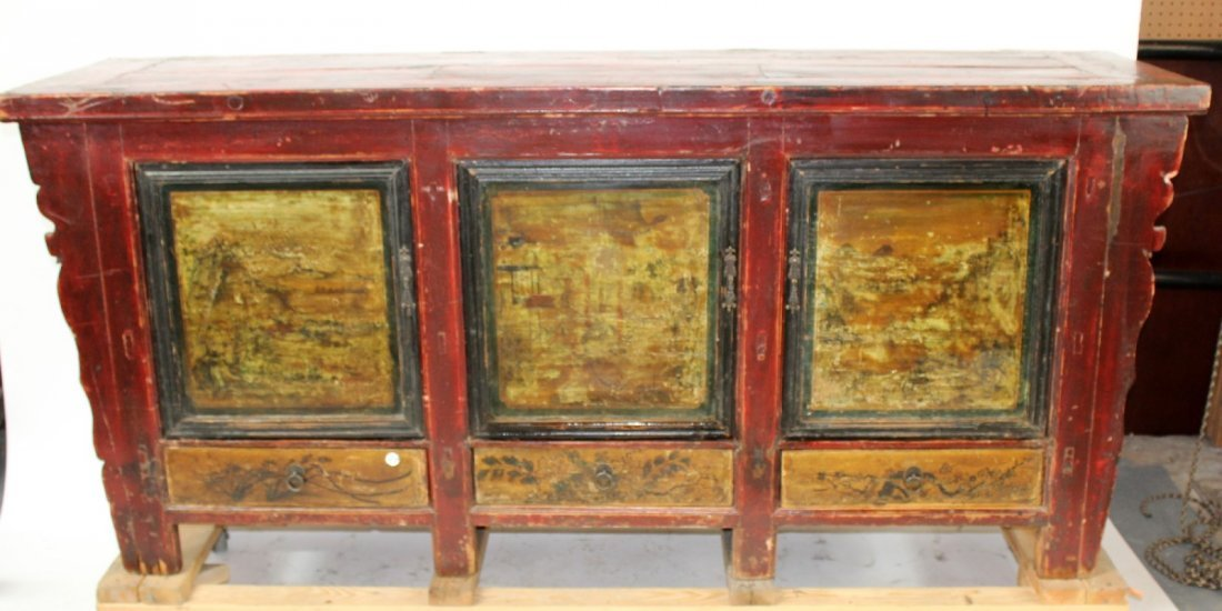 Chinese painted sideboard with landscape scenes