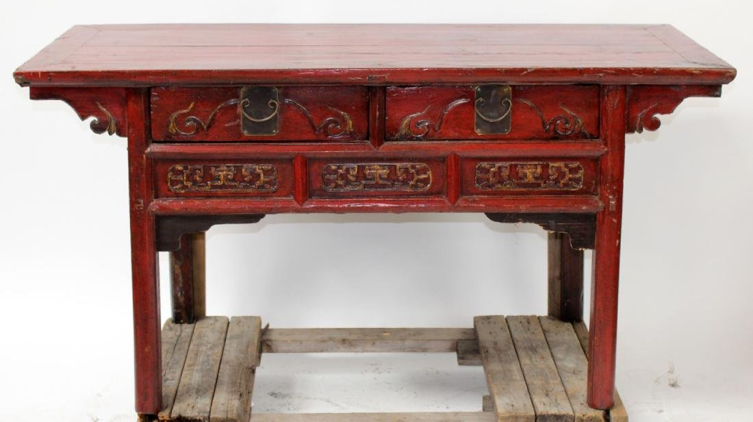 Chinese painted altar table with drawers