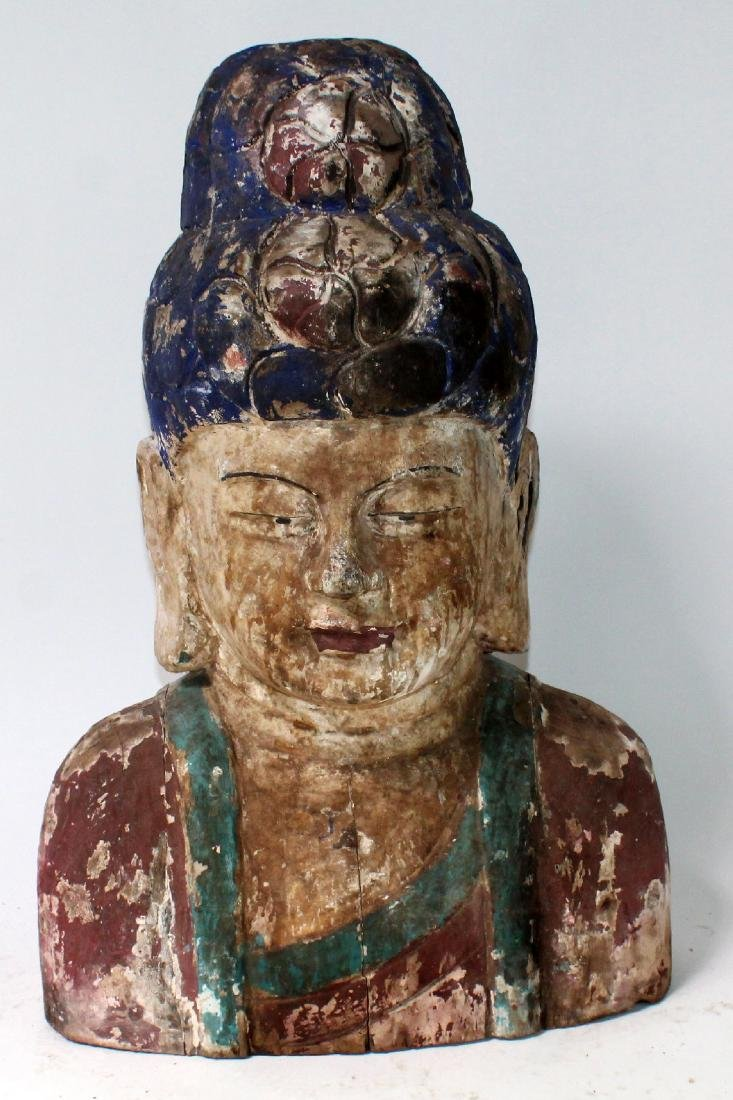 Painted and carved wooden Chinese deity bust