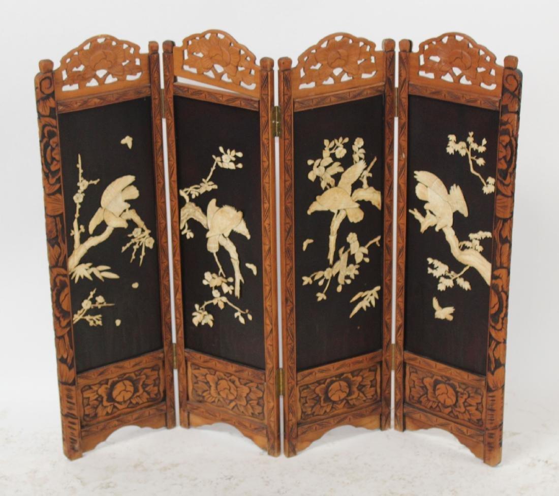 4 panel oriental folding screen