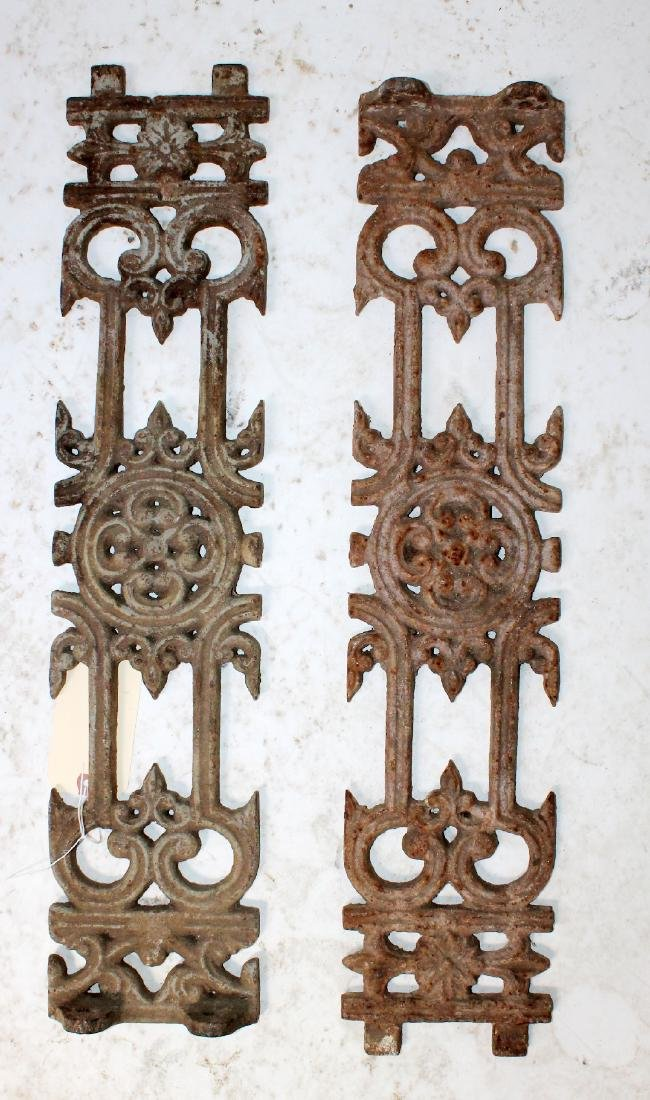 Pair of antique cast iron panels