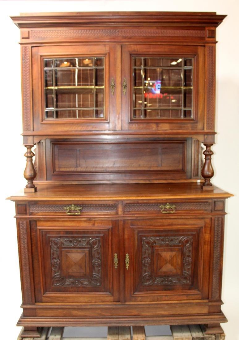 Italian walnut buffet with beveled glass doors