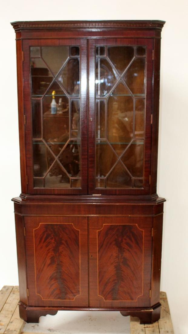 English banded mahogany corner cabinet