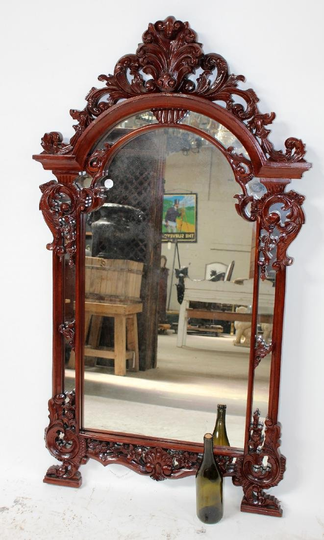 Carved mahogany Louis XV style mirror