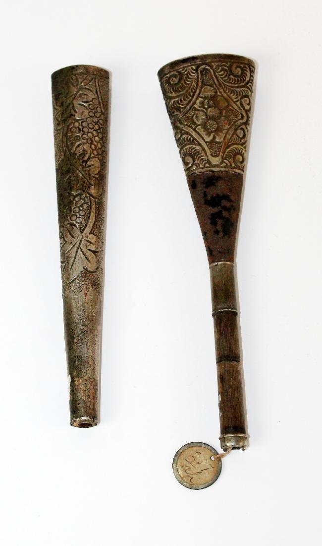 Lot of 2 Victorian silverplate umbrella handles