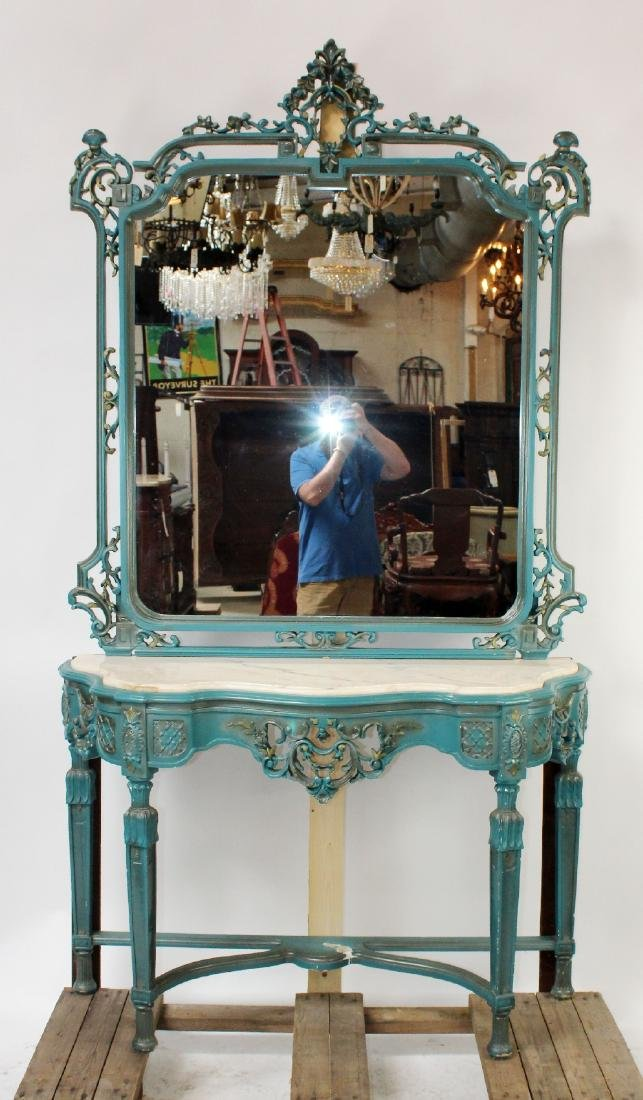 Painted Louis XV style console with mirror