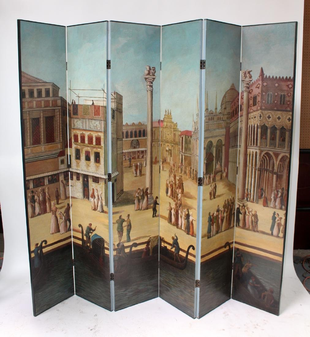 6 panel hand painted folding screen with Venice scene