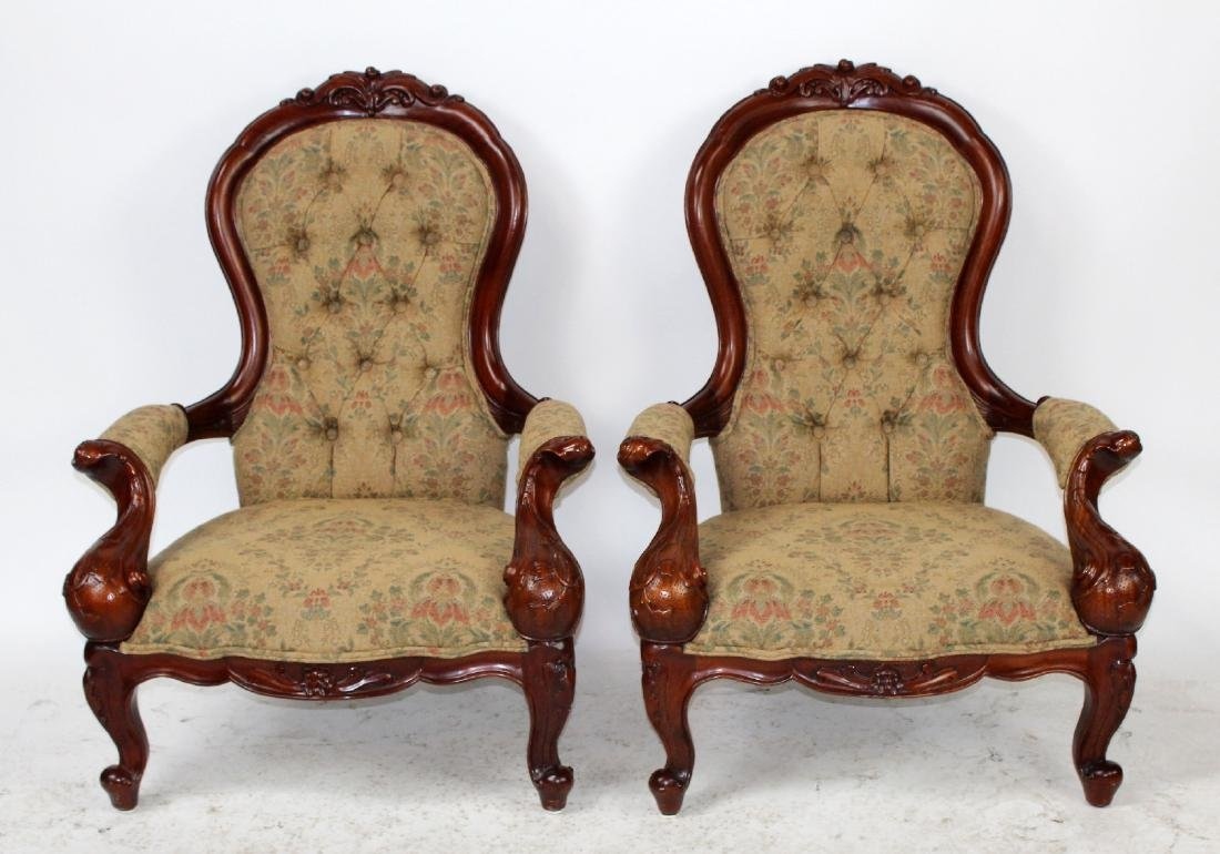 Pair of mahogany American Victorian parlor chairs