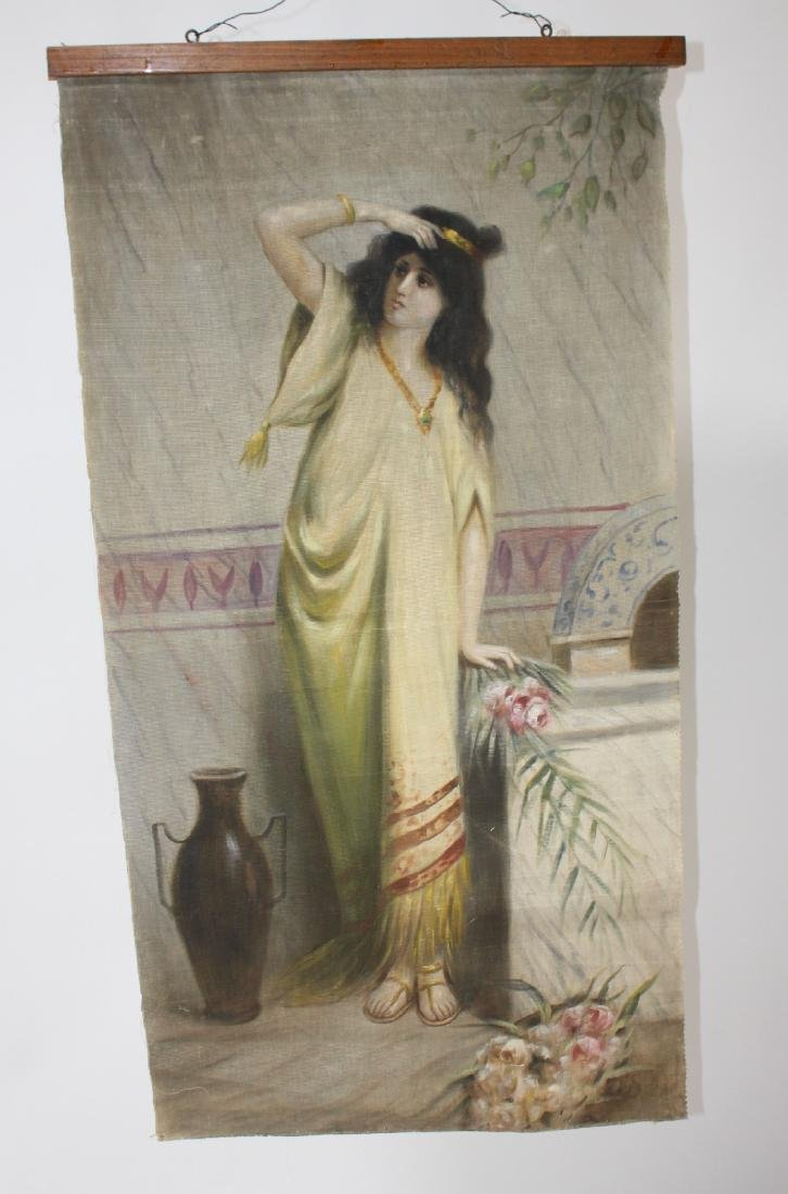 Victorian painting on canvas depicting Rebecca