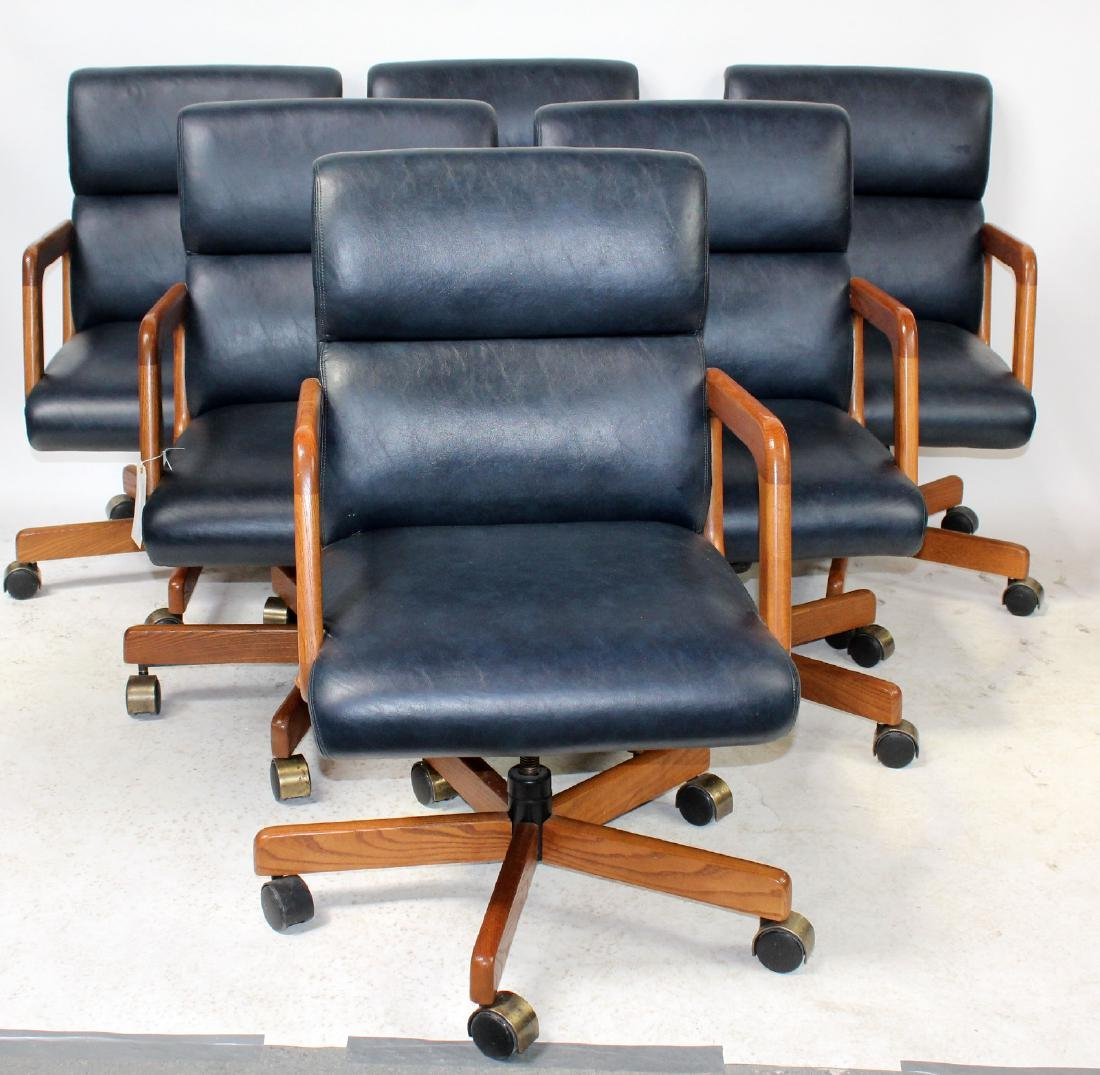 6 Vintage blue leather upholstered armchairs