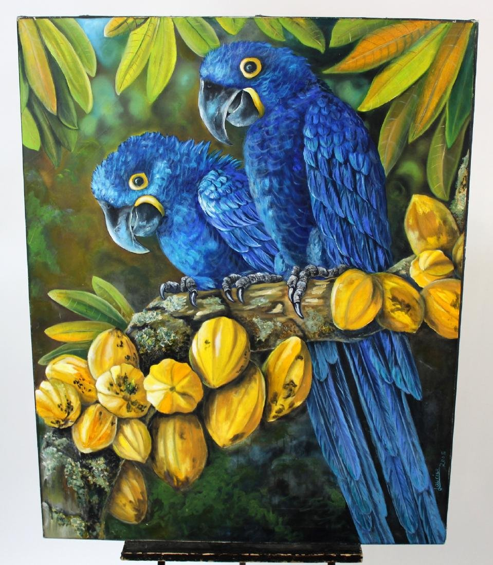 Unframed oil on canvas depicting Macaw parrots
