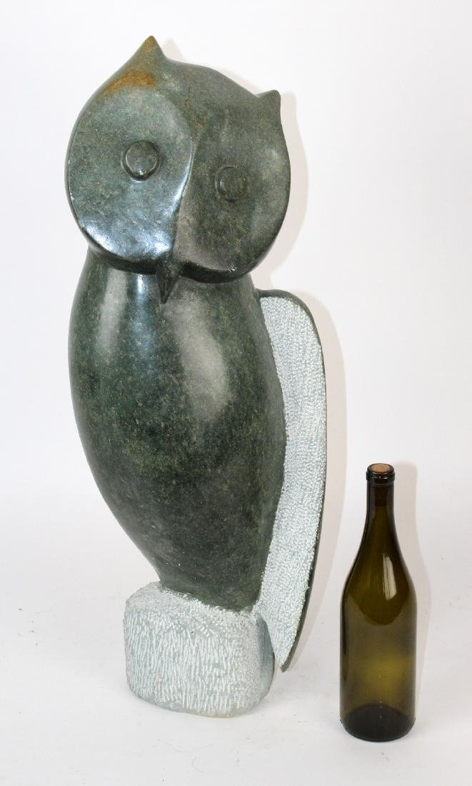 Mid century owl sculpture in green marble
