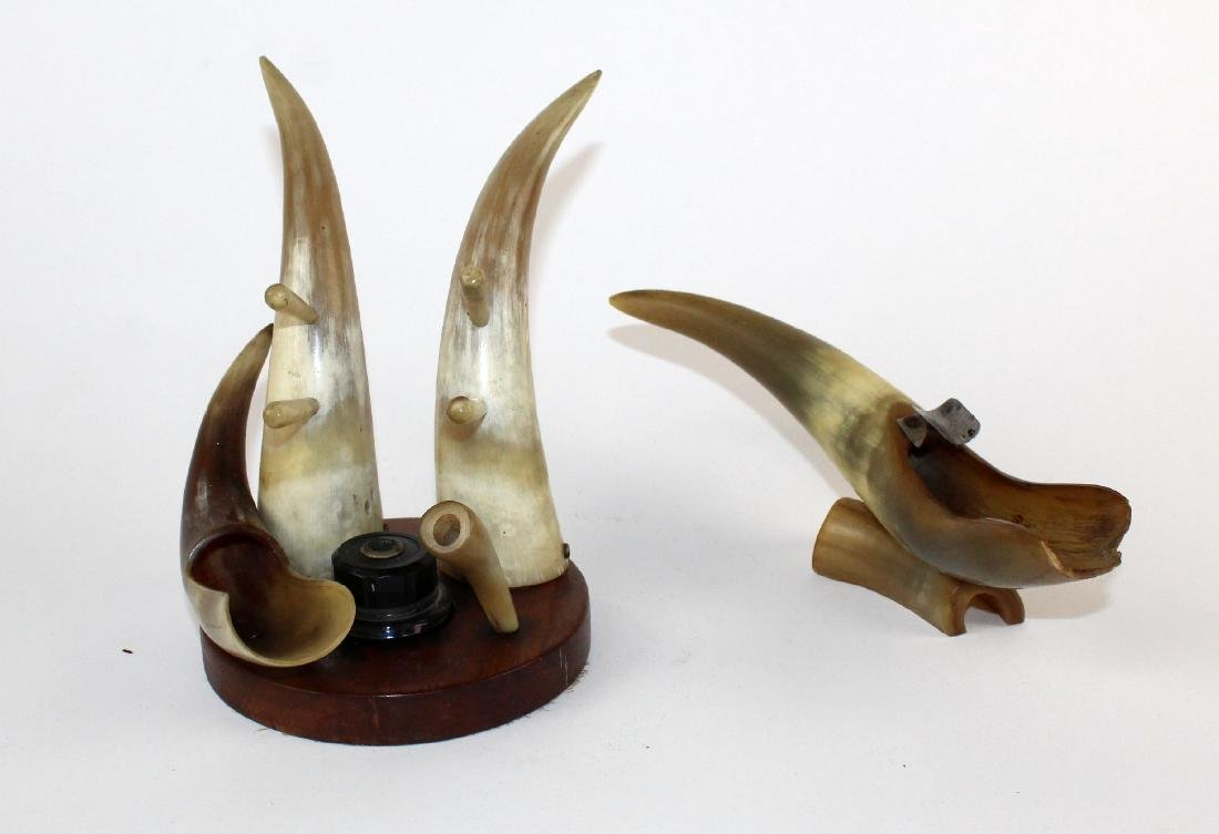 Horn desk set with inkwell and ashtray