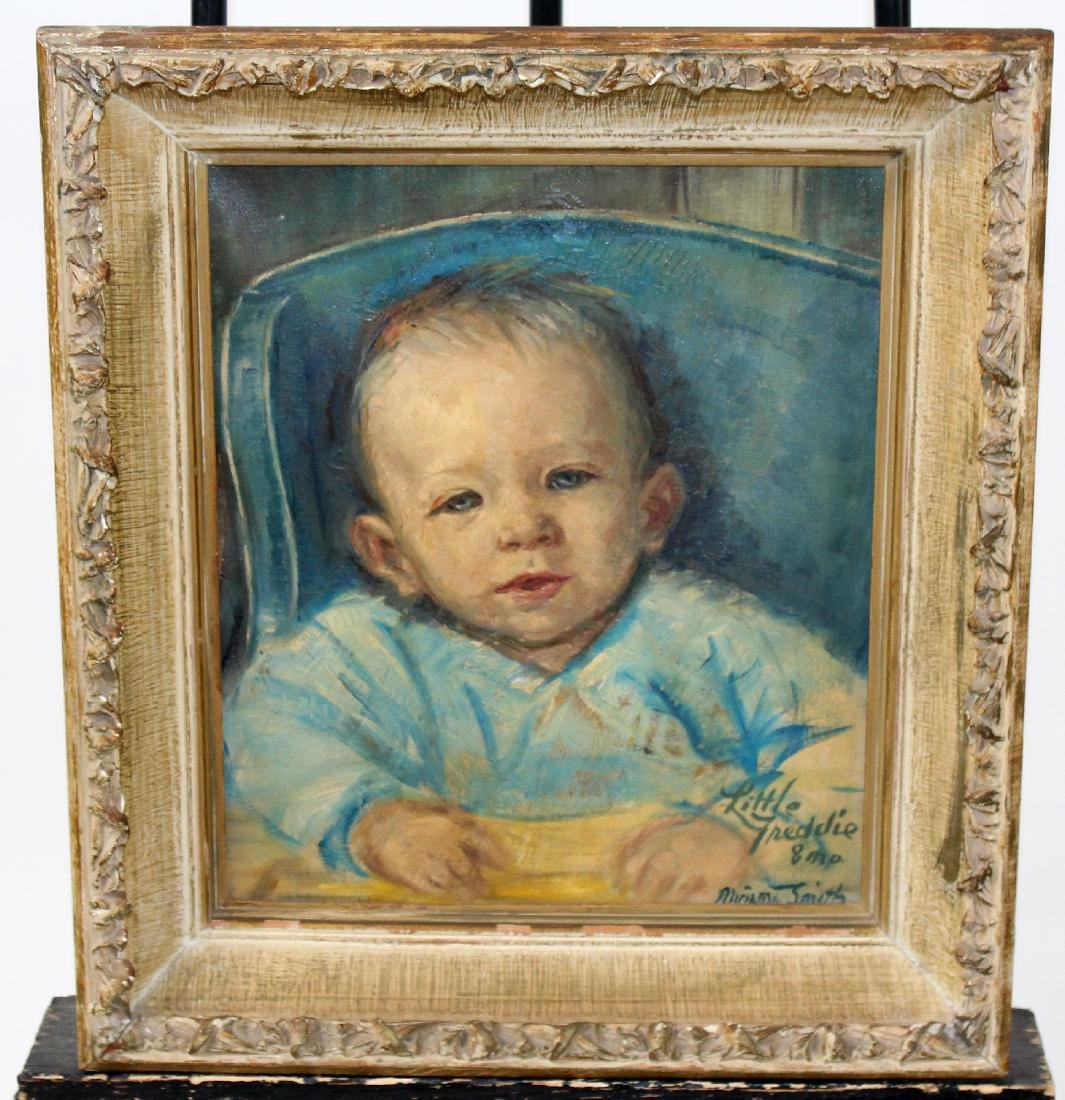Oil on canvas depicting portrait of child