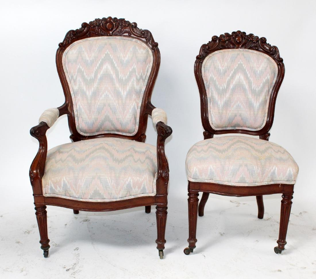 Companion pair of American Victorian parlor chairs