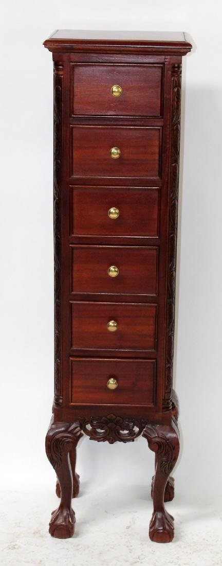 Mahogany Chippendale style 6 drawer jewelry chest