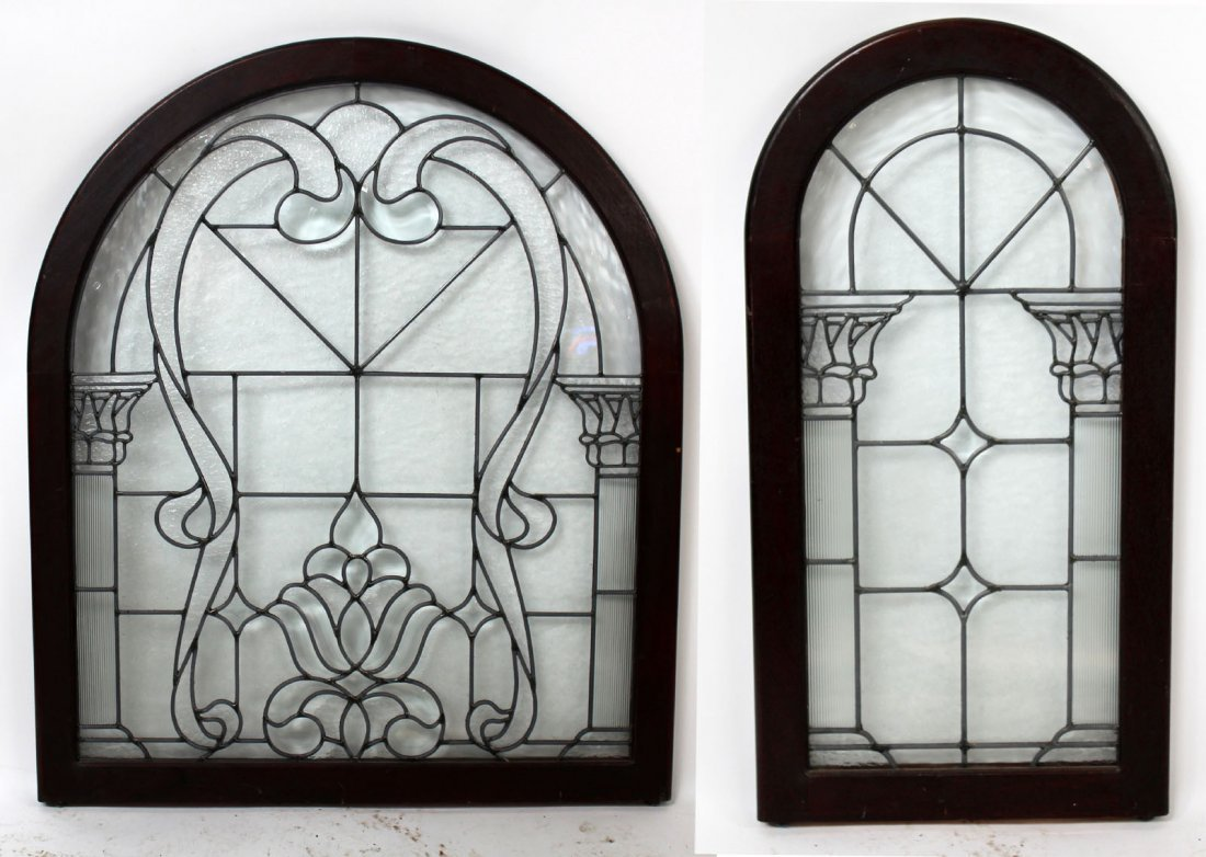 2 Arch top clear leaded glass panel