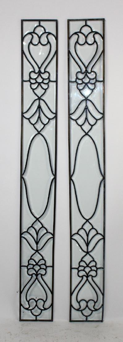 Pair of clear and leaded glass side lights