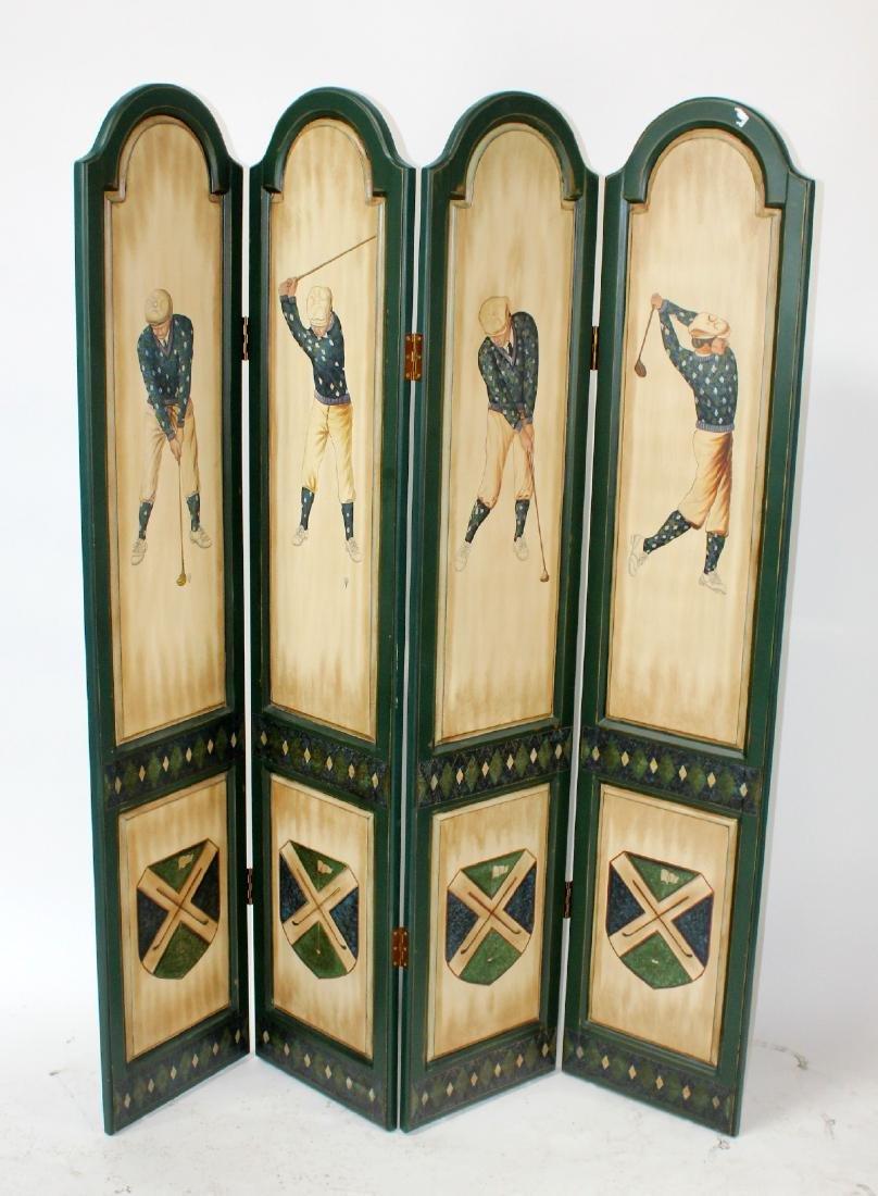 Golf themed 4 panel folding screen