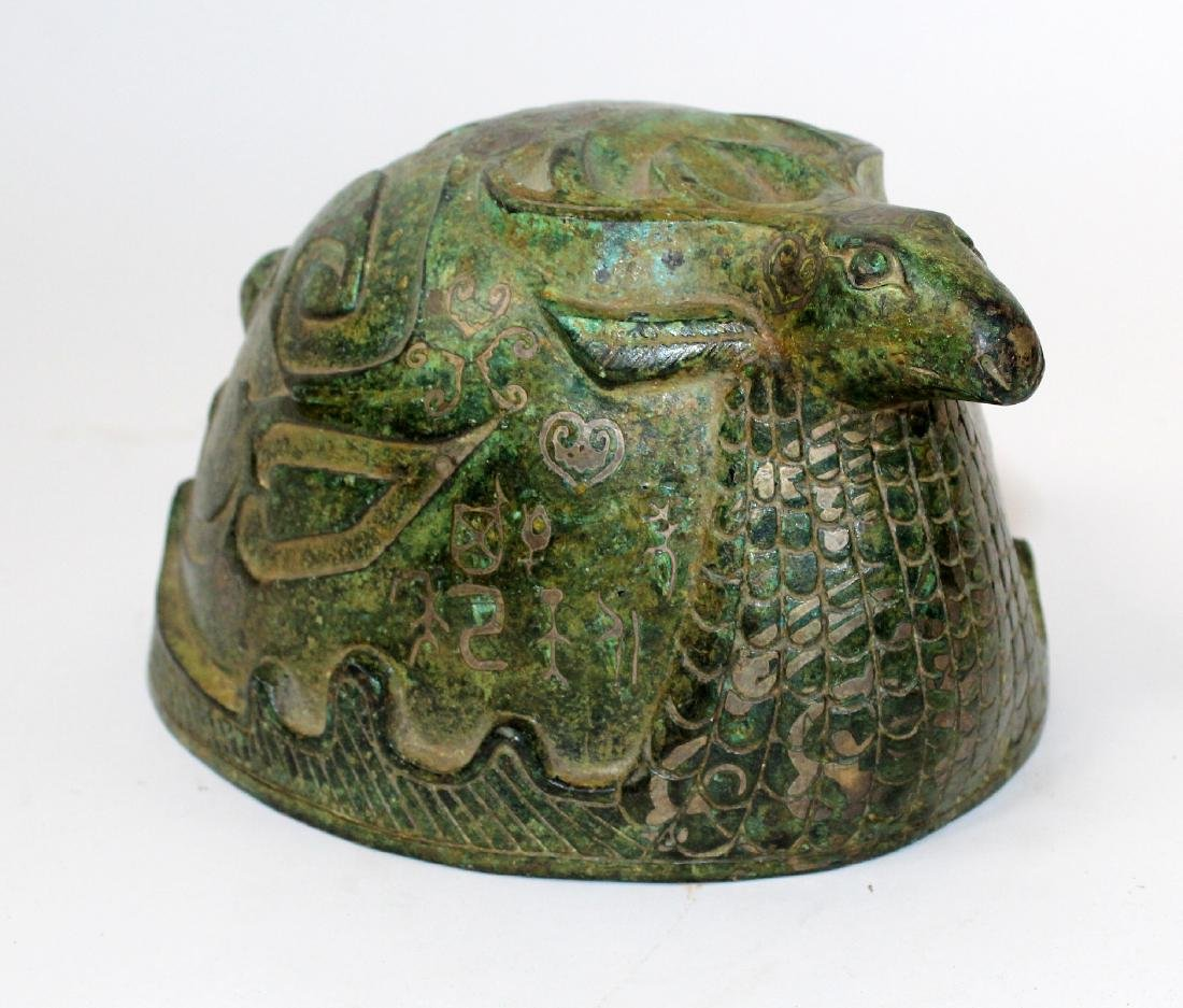 Chinese bronze ceremonial helmet with stag